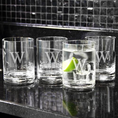Personalized Low-Ball Drinking Glasses (Set of 4) T