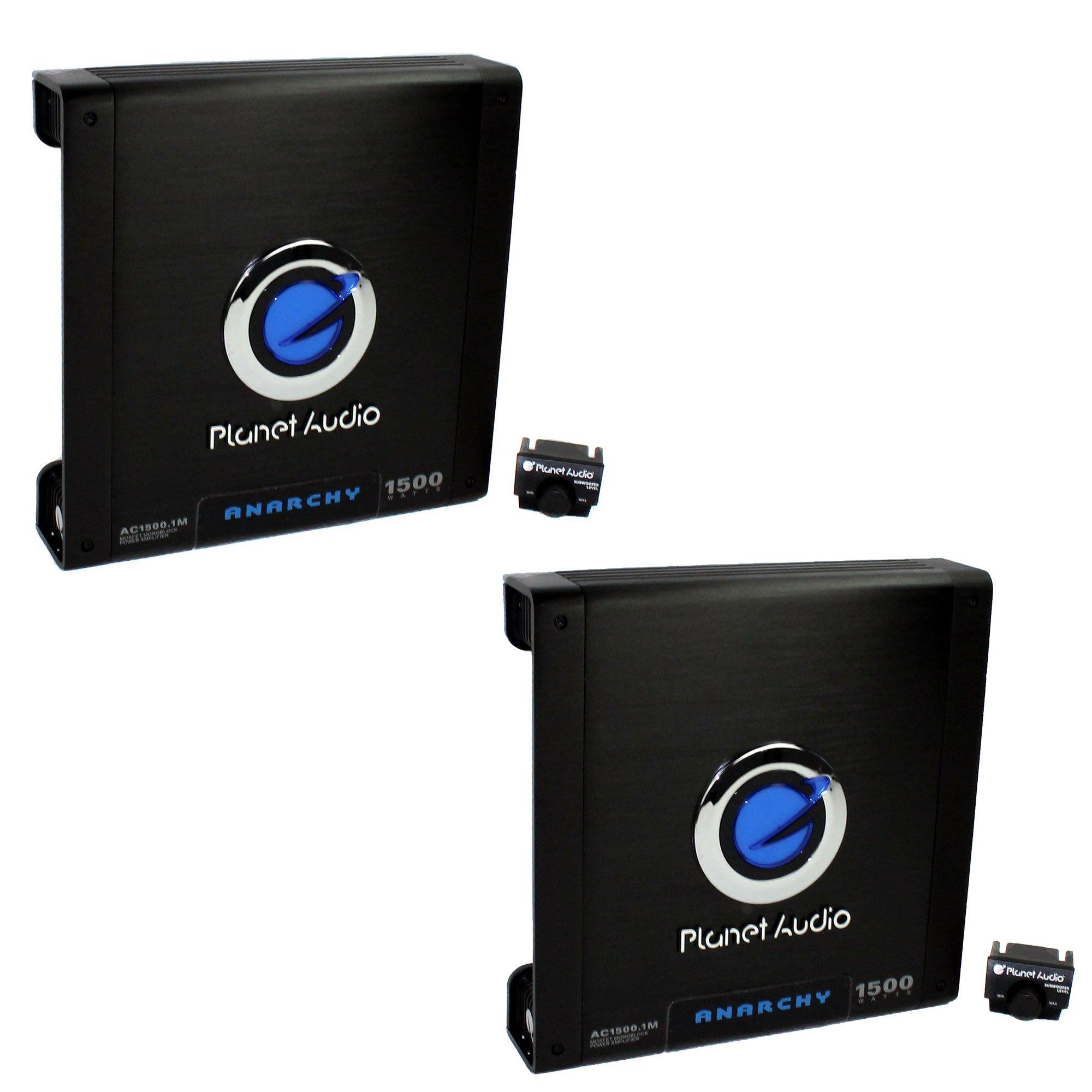 Planet Audio 1500 Watt Mono Block Car Audio Amplifier with Remote (2 Pack)