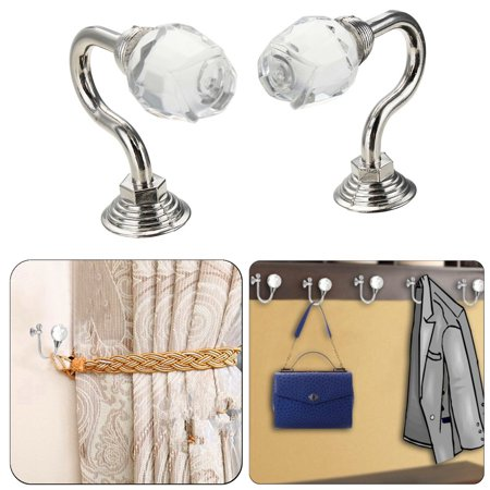 Round Silver Glass Crystal Curtain Tie Back Wall Hooks Wall Mounted