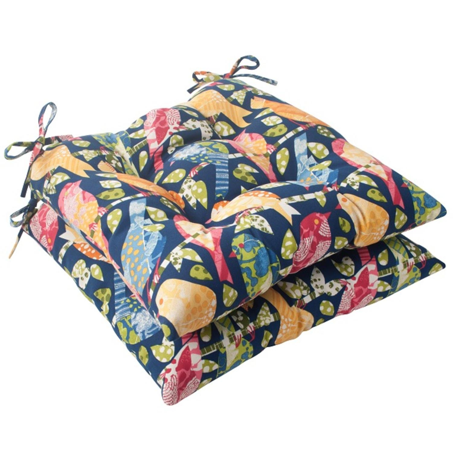 """Set of 2 Solarium Colorful Bird Watchers Outdoor Patio Tufted Seat Cushions 19"""""""