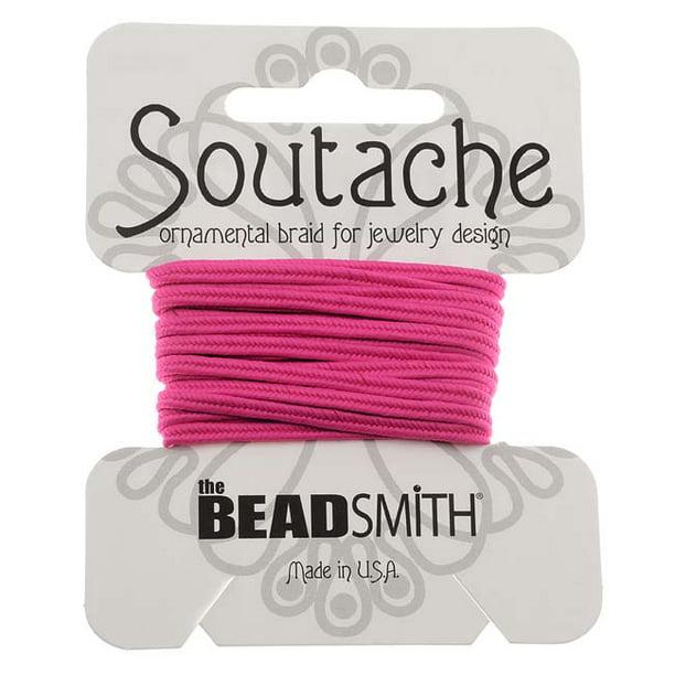 Braided cord pink soutache pink cord soutache braided soutache cord 5 yards 3 mm Shocking Pink Soutache Braid jewelry making cord