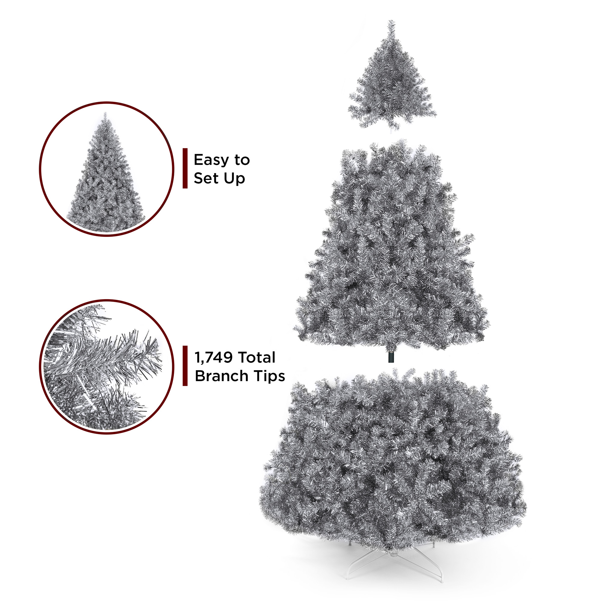 Best Choice Products 7 5ft Artificial Silver Tinsel Christmas Tree Holiday Decoration W 1 749 Branch Tips Stand Walmart Com Walmart Com