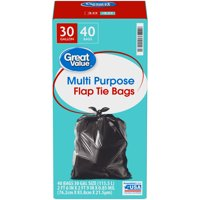 Great Value 30 Gallon Multi Purpose Large Flap Tie Trash Bags 40 ct Box