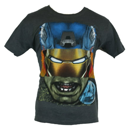 The Avengers  Mens T-Shirt - Hulk Captain America Iron Man Thor Head Collage (Iron Man Armour For Sale)