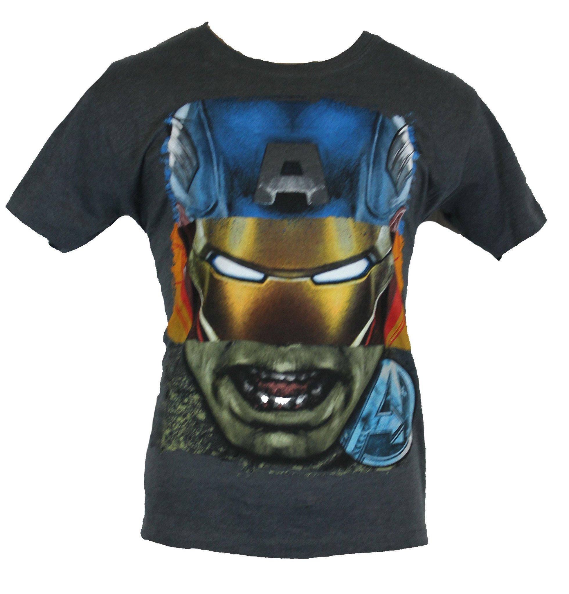 The Avengers  Mens T-Shirt - Hulk Captain America Iron Man Thor Head Collage