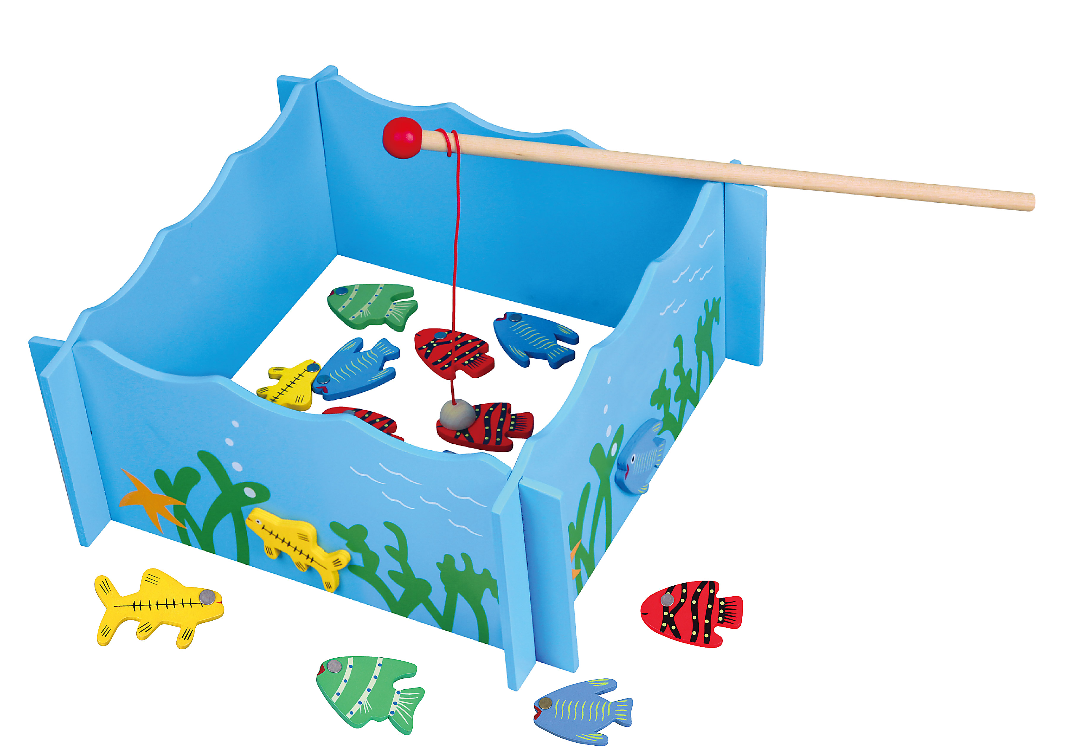 Fishing Game Playset - a fishing pool, 4 magnetic fishing rods and 20 pieces of fish