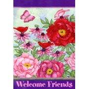 "Pretty In Pink Garden Flag Spring Decorative Butterfly Yard Banner 12"" x 18"""