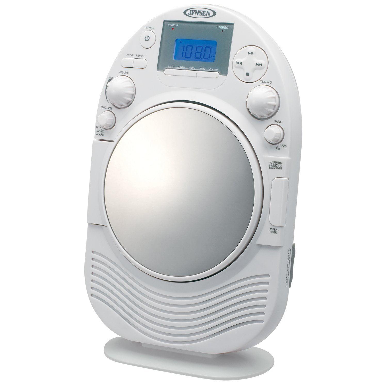 Bon Jensen Vertical Loading CD Player U0026 Digital AM/FM Splash Resistant Shower  Clock Radio   Walmart.com
