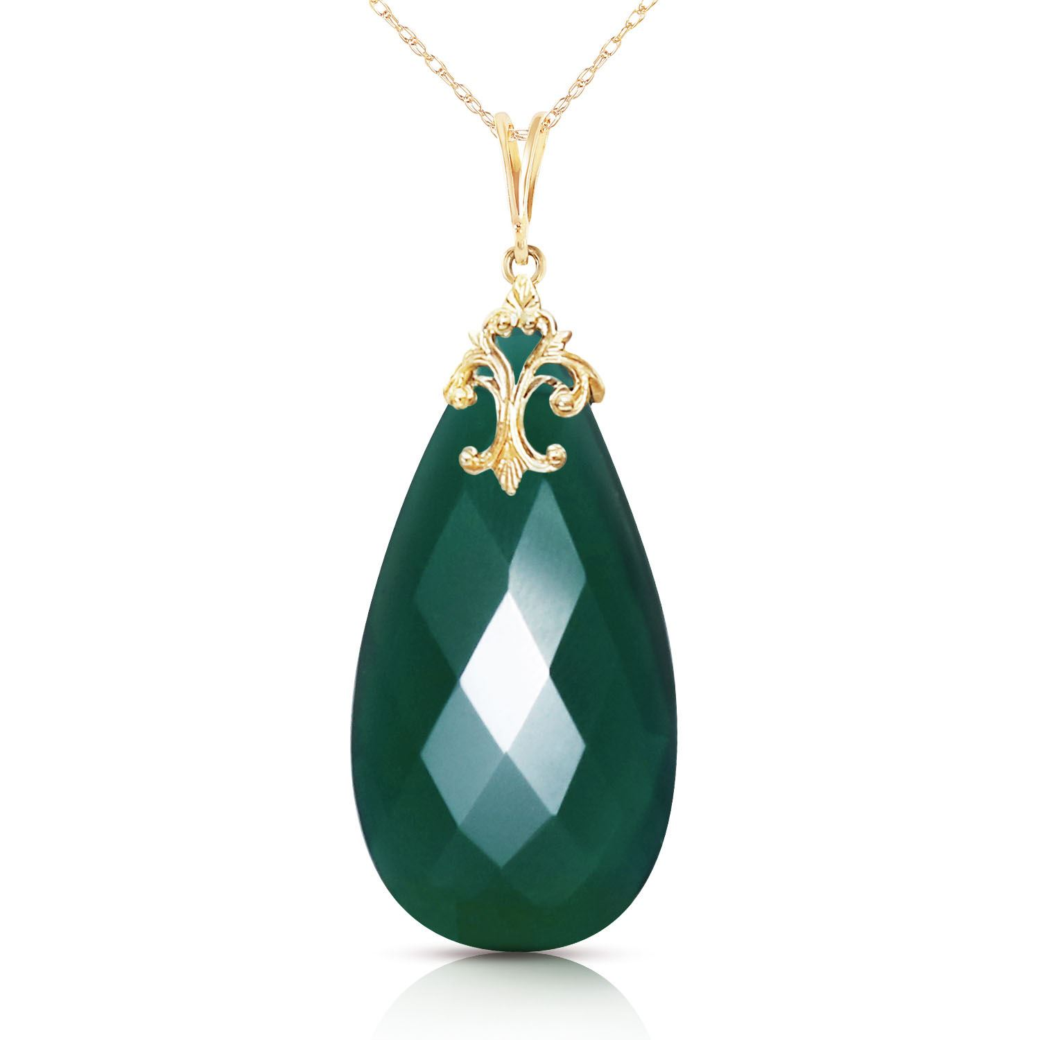 ALARRI 14K Solid Gold Necklace with Briolette 31x16 mm Deep Green Chalcedony with 18 Inch Chain Length. by ALARRI