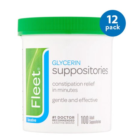 Glycerin Suppositories Laxative Adult ((12 Pack) Fleet Glycerin Suppositories Laxative, 100ct)