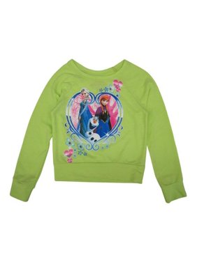 ccf6cff42 Product Image Girls Lime Green Frozen Heart Print Long Sleeve Sweater 8-16