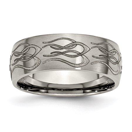 - Titanium 8mm Laser Design Brushed Wedding Ring Band Size 9.00 Designed Fashion Jewelry For Women Gift Set