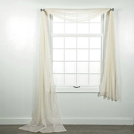 1 PC SOLID IVORY BEIGE SCARF VALANCE SOFT SHEER VOILE WINDOW PANEL CURTAIN 216