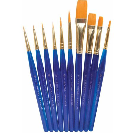 Royal Brush Royal Golden Taklon Ultra Short Brushes  Assorted Sizes  Translucent Blue  Set Of 10