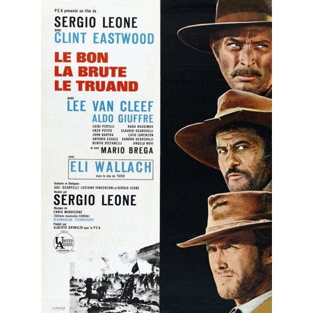 Lee French Poster - The Good The Bad And The Ugly Right From Top Lee Van Cleef Eli Wallach Clint Eastwood On French Poster Art 1966 Movie Poster Masterprint