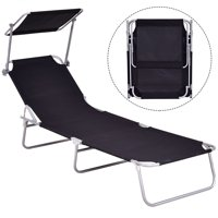 GHP Black 264-Lbs Capacity Oxford Cloth & Steel Folding Outdoor Beach Sun Lounge