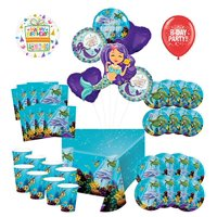 Mayflower Products Under The Sea Birthday Party Supplies 8 Guest Entertainment kit and Mermaid Ocean Animals Balloon Bouquet Decorations - Red Number 1
