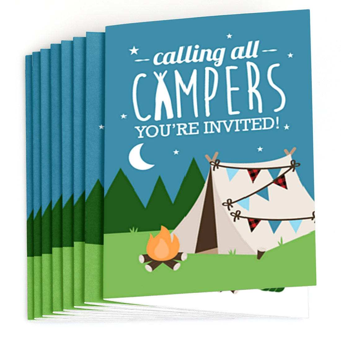 Big Dot of Happiness Happy Camper 8 Count Camping Baby Shower or Birthday Party Thank You Cards