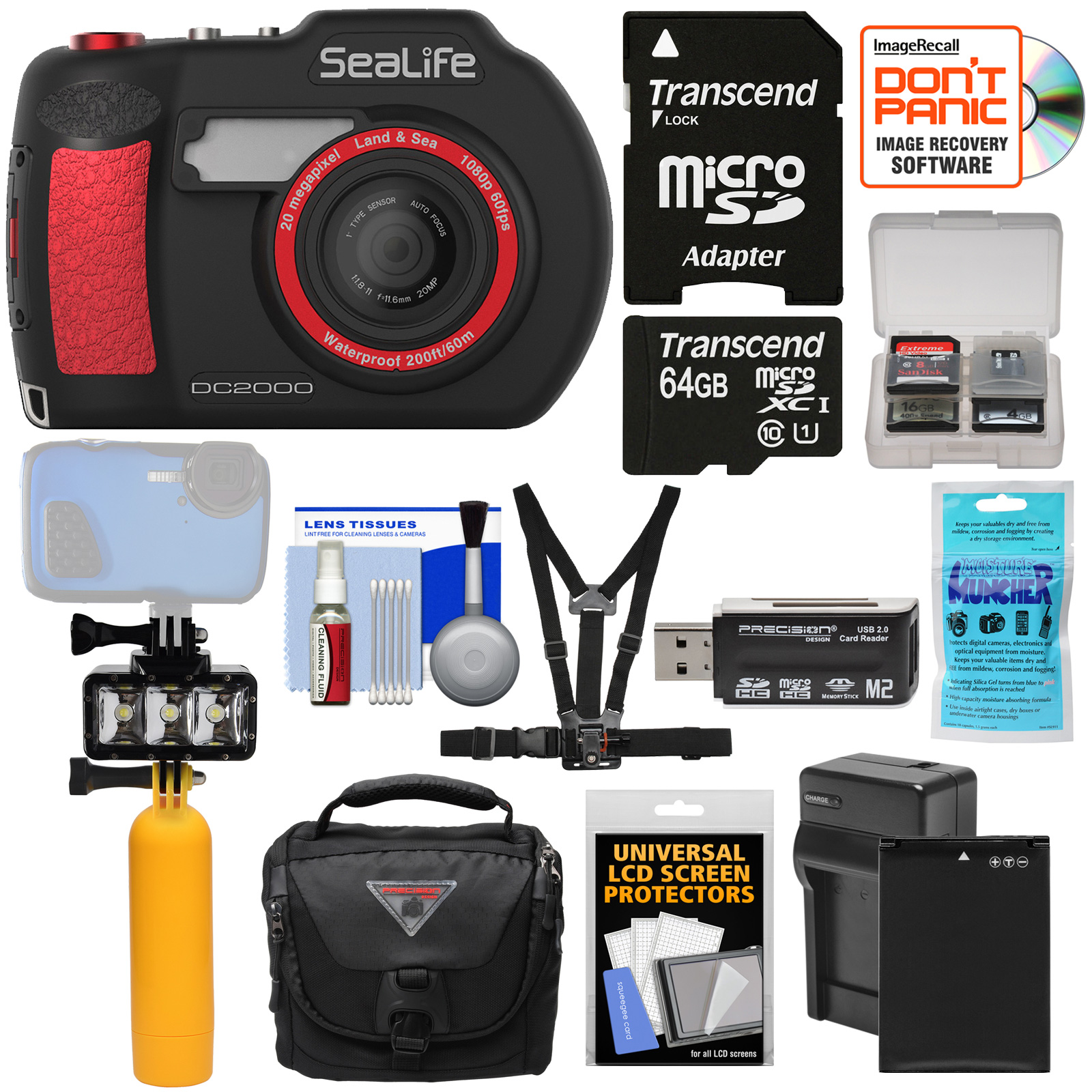 SeaLife DC2000 HD Underwater Digital Camera with 64GB Card + Battery & Charger + Diving LED Light + Buoy +... by SeaLife