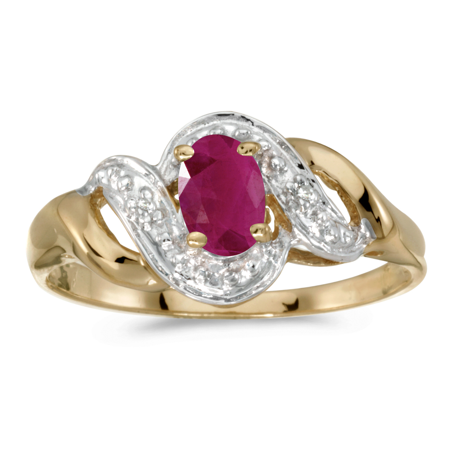 10k Yellow Gold Oval Ruby And Diamond Swirl Ring by