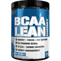 Evlution Nutrition BCAA Lean Energy Powder, Blue Raspberry, 30 Servings