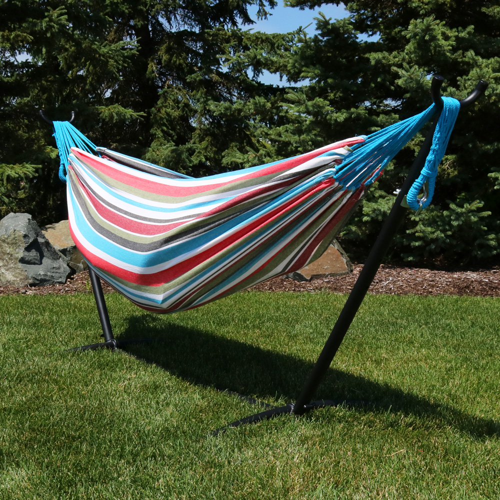 Sunnydaze Brazilian Double Hammock with Stand and Carrying Pouch, 2 Person Portable Bed - For Indoor or Outdoor Patio, Yard, and Porch (Sunset)