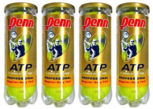 Penn ATP Regular Duty Tennis Balls (1 Dozen=4 Tube by Penn