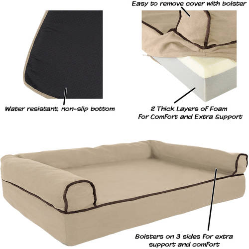 Memory Foam Orthopedic Dog Pet Bed Sofa With Foam Stuffed Bolsters