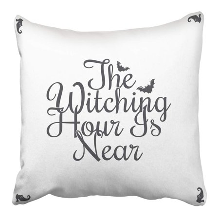 ARHOME Bat Happy Halloween Vintage Lettering The Witching Hour is Near Design Black Pillowcase Cushion Cover 16x16 - Halloween Is Near