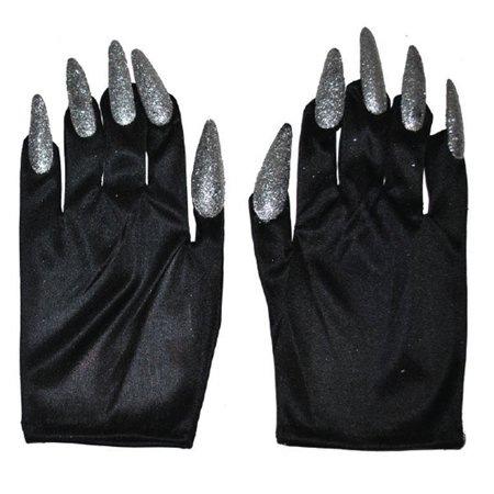 Halloween Costume Witch Nail Gloves, Black with Silver Nails, One-Size, 1 Pair
