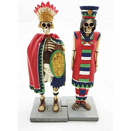 Tenochtitlan Aztec Royalty King And Queen Skeleton Day Of The Dead Sculpture Figurine