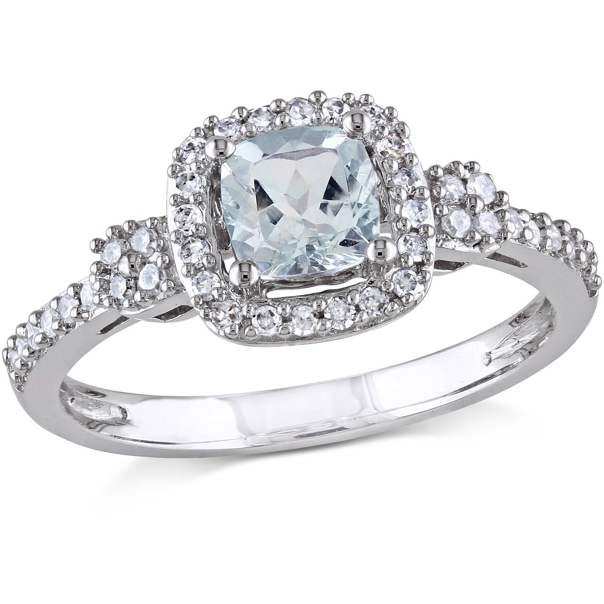 Tangelo 1 2 Carat T.G.W. Aquamarine and 1 6 Carat T.W. Diamond 10kt White Gold Halo Engagement Ring by Tangelo