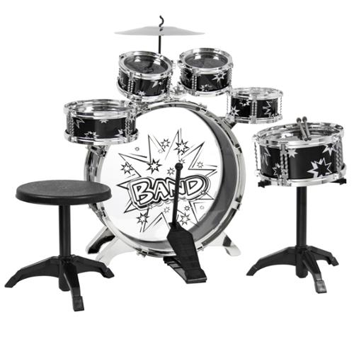 Kids Drum Set Kids Toy with Cymbals Stands Throne Black Silver Boys Toy Drum Kit