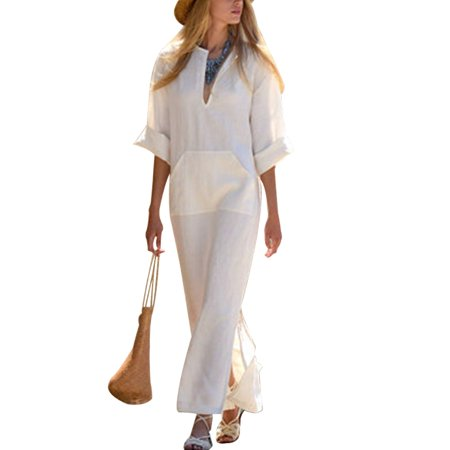 Womens Loose Split Hem V Neck Long Sleeve Cotton Linen Long Maxi Dress