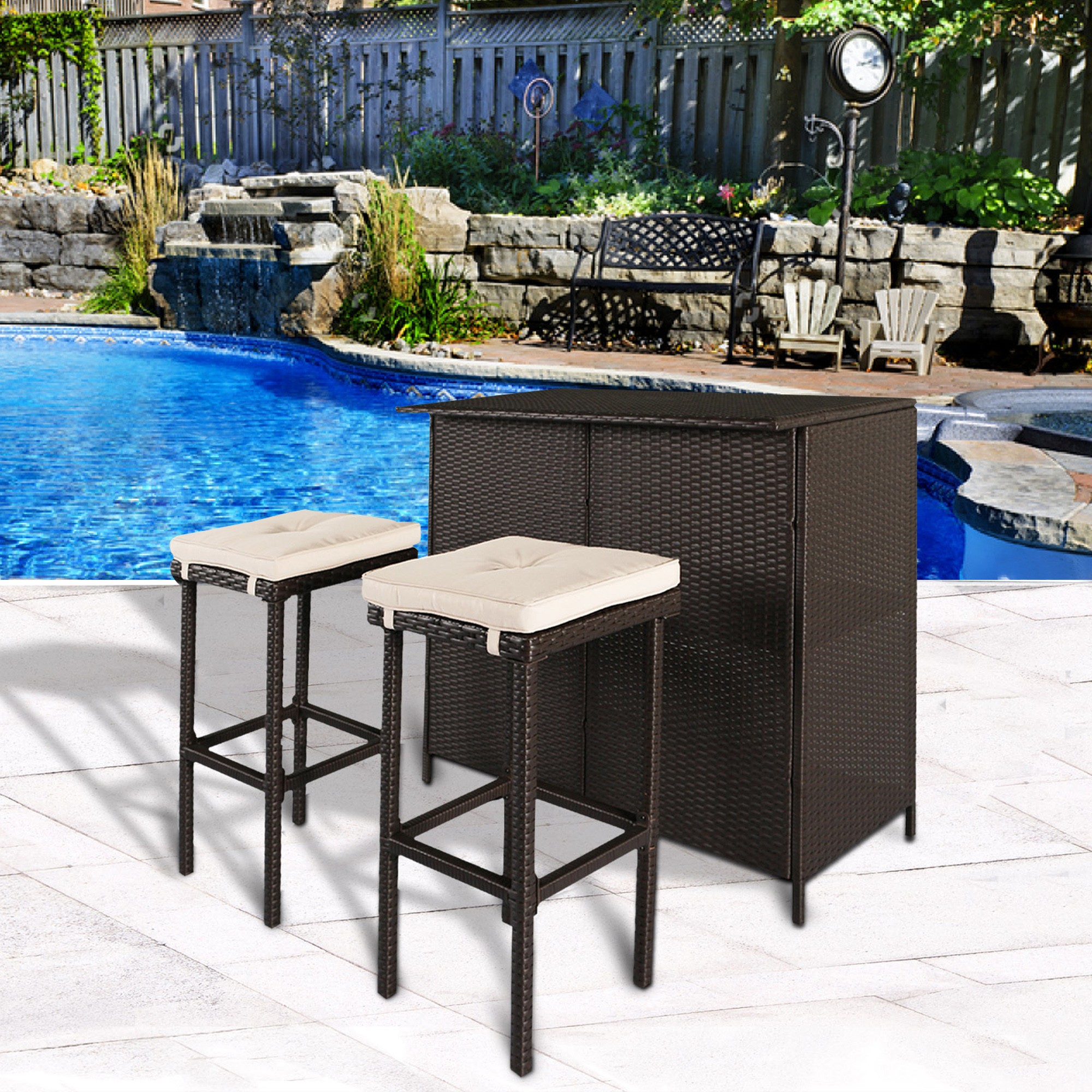 Charmant 3 PC Outdoor Patio Bar Set Table 2 Stools Barstool Furniture Set,Creamy  White Cushion