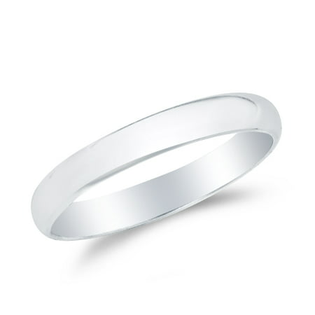 14k White Gold Solid 2mm CLASSIC FIT Plain Traditional Wedding Band Ring , Size 8.5