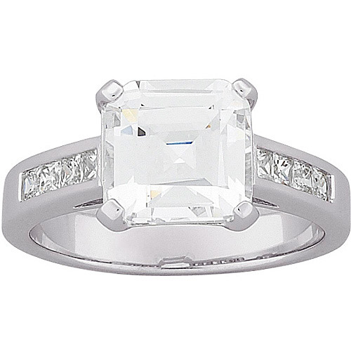 7.5 Carat T.G.W. Asscher-Cut CZ Engagement Ring in Sterling Silver