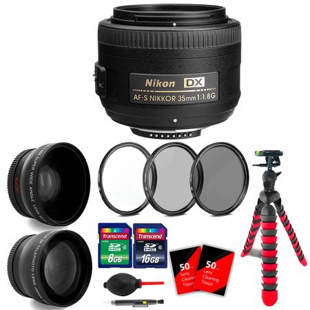 Nikon AF-S DX NIKKOR 35mm f/1.8G Lens with 24GB Top Accessory