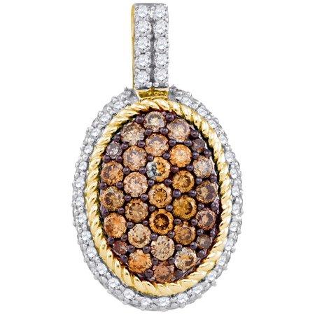 10K Yellow Gold 0.99ctw Shiny Pave Cognac Brown Diamond Oval Fashion Pendant