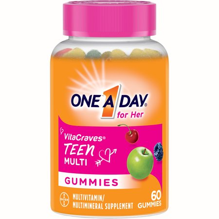 One A Day VitaCraves Teen for Her Multivitamin Gummies Supplement with Vitamins A, C, E, B3, B6, B12, Calcium and Vitamin D, 60