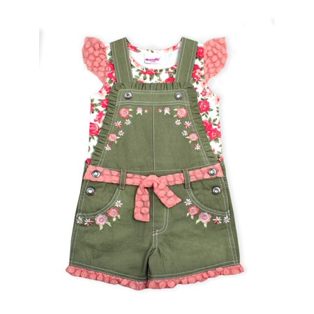 Floral Twill Shortall and Lace Tee, 2-Piece Set (Little (Christening Shortall)