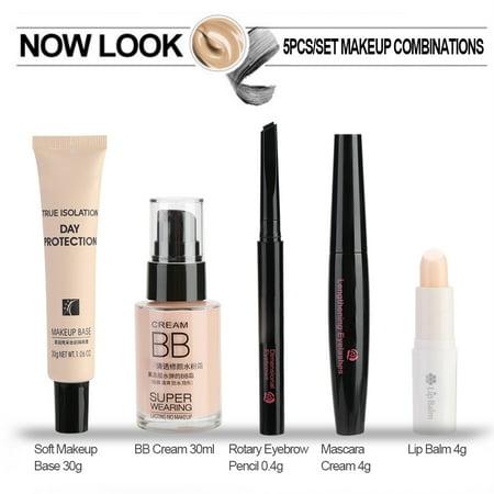 HERCHR Lip Balm, Cosmetic Makeup Set for Beginner Lip Balm BB Cream Eyebrow Pencil Mascara Makeup Base, Mascara Cream, Makeup Set for