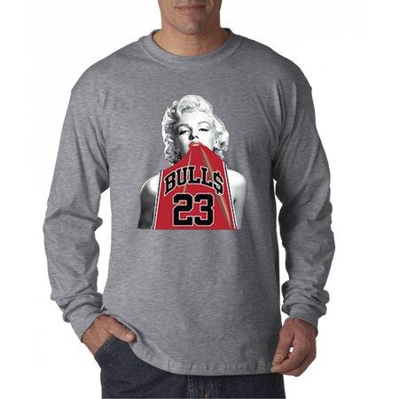 419 - Unisex Long-Sleeve T-Shirt Marilyn Monroe Bulls 23 Jordan Red Jersey ()