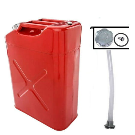 - Zimtown Portable 5 Gallon Petrol Jerry Can with Spout, 20L 0.6mm Cold Rolled Steel Gasoline Fuel Container Caddy Tank, for Emergency Backup (Red)