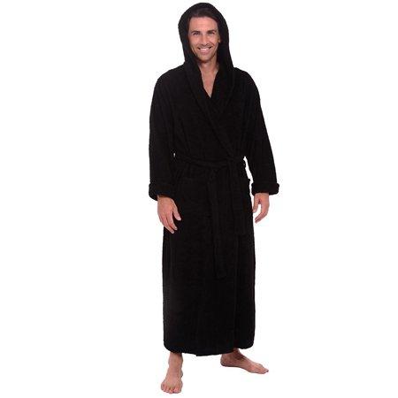 26ab0f9d02 Spa   Resort - Heavy 3.5lb Mens Black Hooded Terry Bathrobe XXXL 3XL. 54  Inch Length - Walmart.com