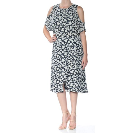 Ralph Lauren Womens White Belted Cold Shoulder Floral Short Sleeve Jewel Neck Below The Knee Faux Wrap Dress  Size: 0 ()