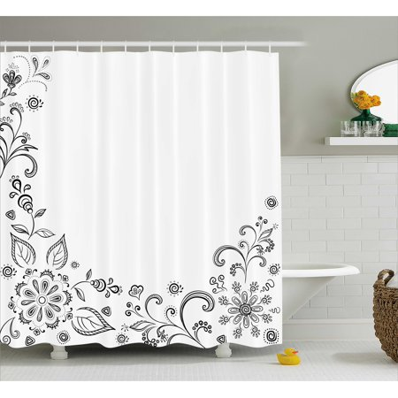 Black And White Shower Curtain Monochrome Floral Framework Herbs Swirled Leaves Botanical Sketchy Bouquet