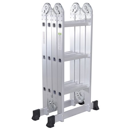 Gymax 12.5Ft Multi Purpose Folding EN131 Aluminum Scaffold Ladder Step (Multi Purpose Folding Ladder)