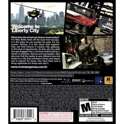Grand Theft Auto IV, Rockstar Games, PlayStation 3, 710425370113