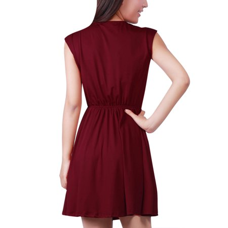 Allegra K Women's Cinched Waist Cross V Neck Dress Red (Size L / 12)
